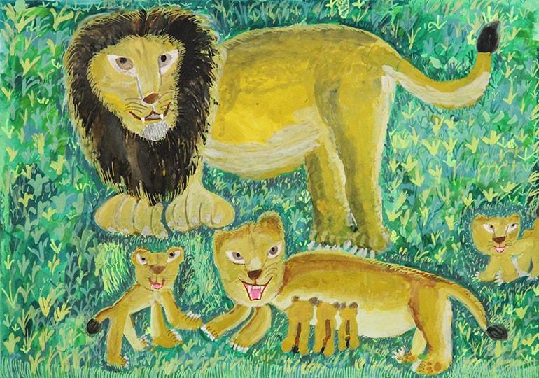 ライオンのおやこ