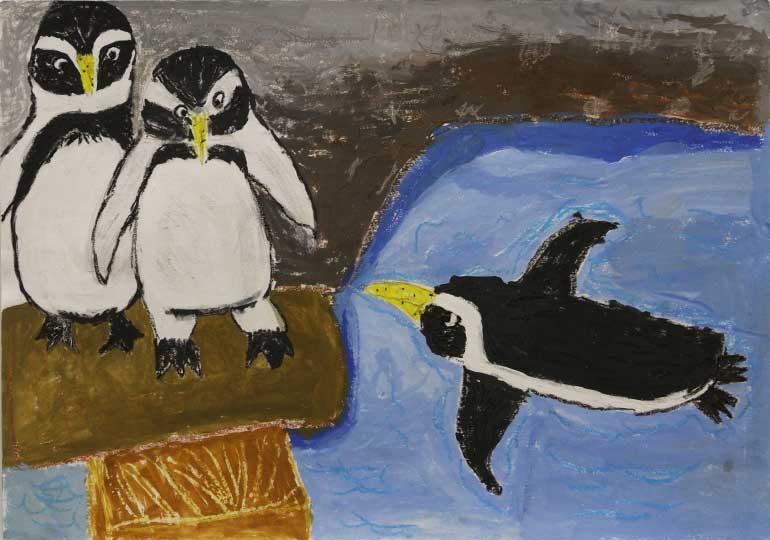 なかなかすべれないペンギン