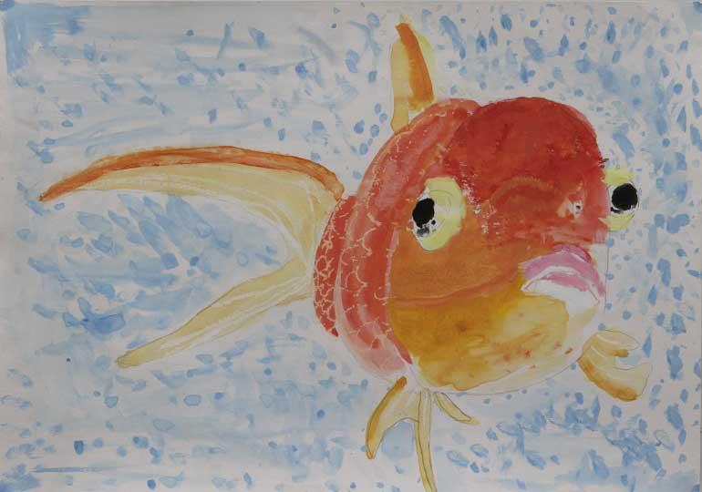 ふりむく金魚