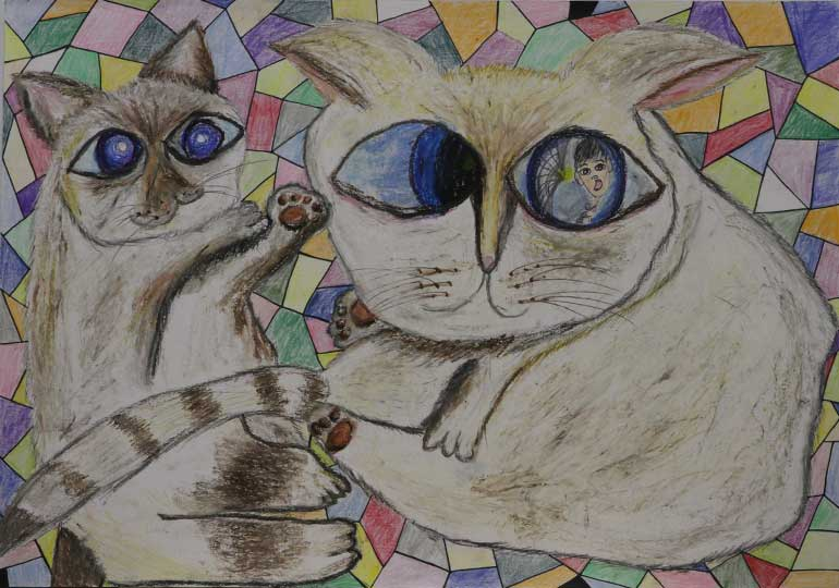 ん?猫の瞳に…