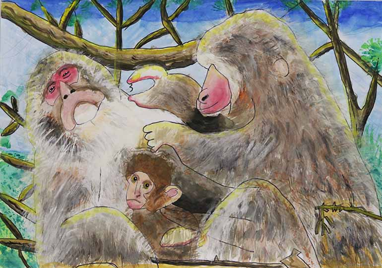 サルの親子の毛づくろい