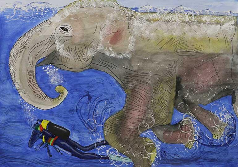 ゾウの水泳